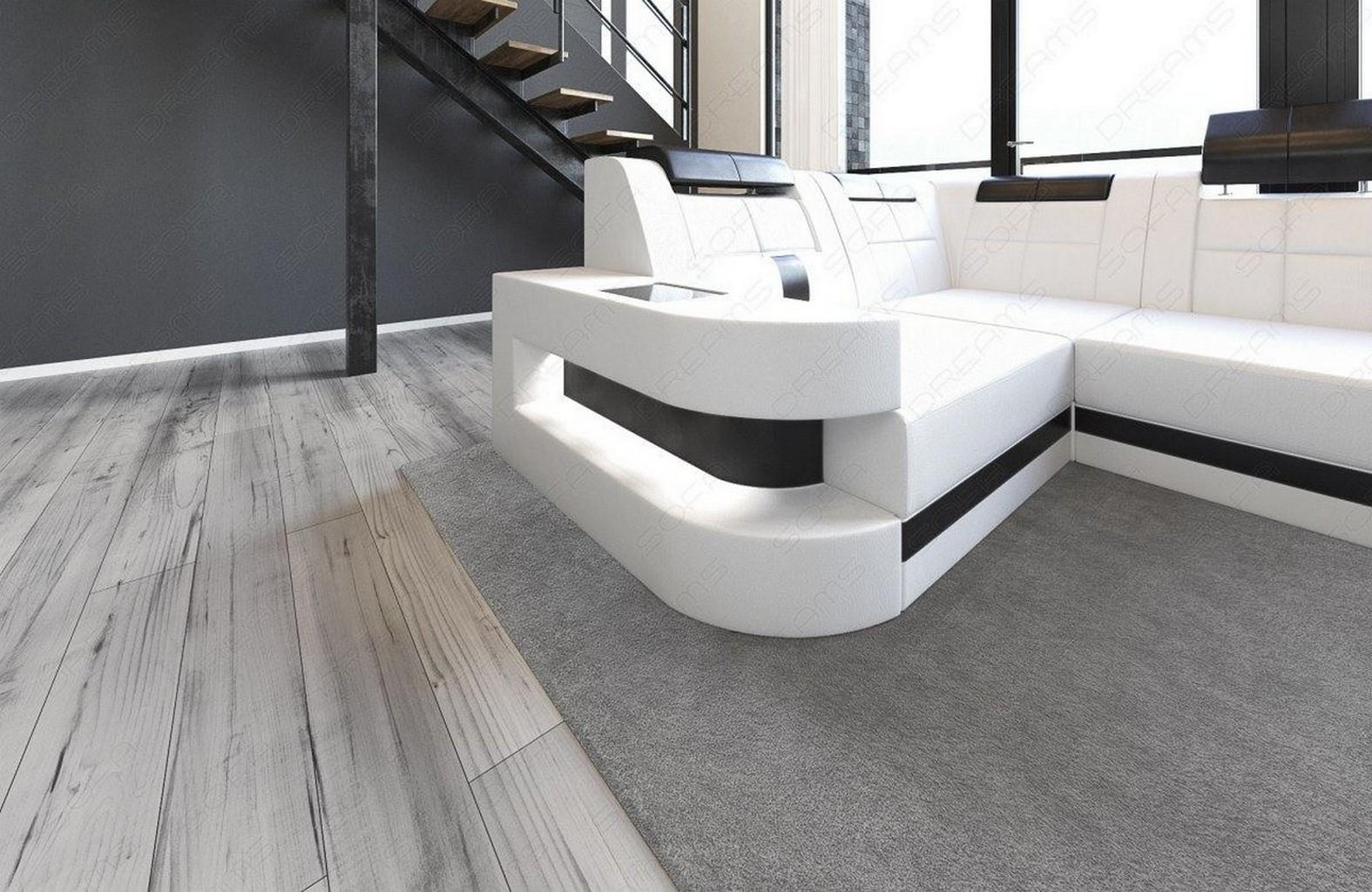 ledersofa wohnlandschaft wave u form led luxus design xxl sofa eckcouch weiss ebay. Black Bedroom Furniture Sets. Home Design Ideas
