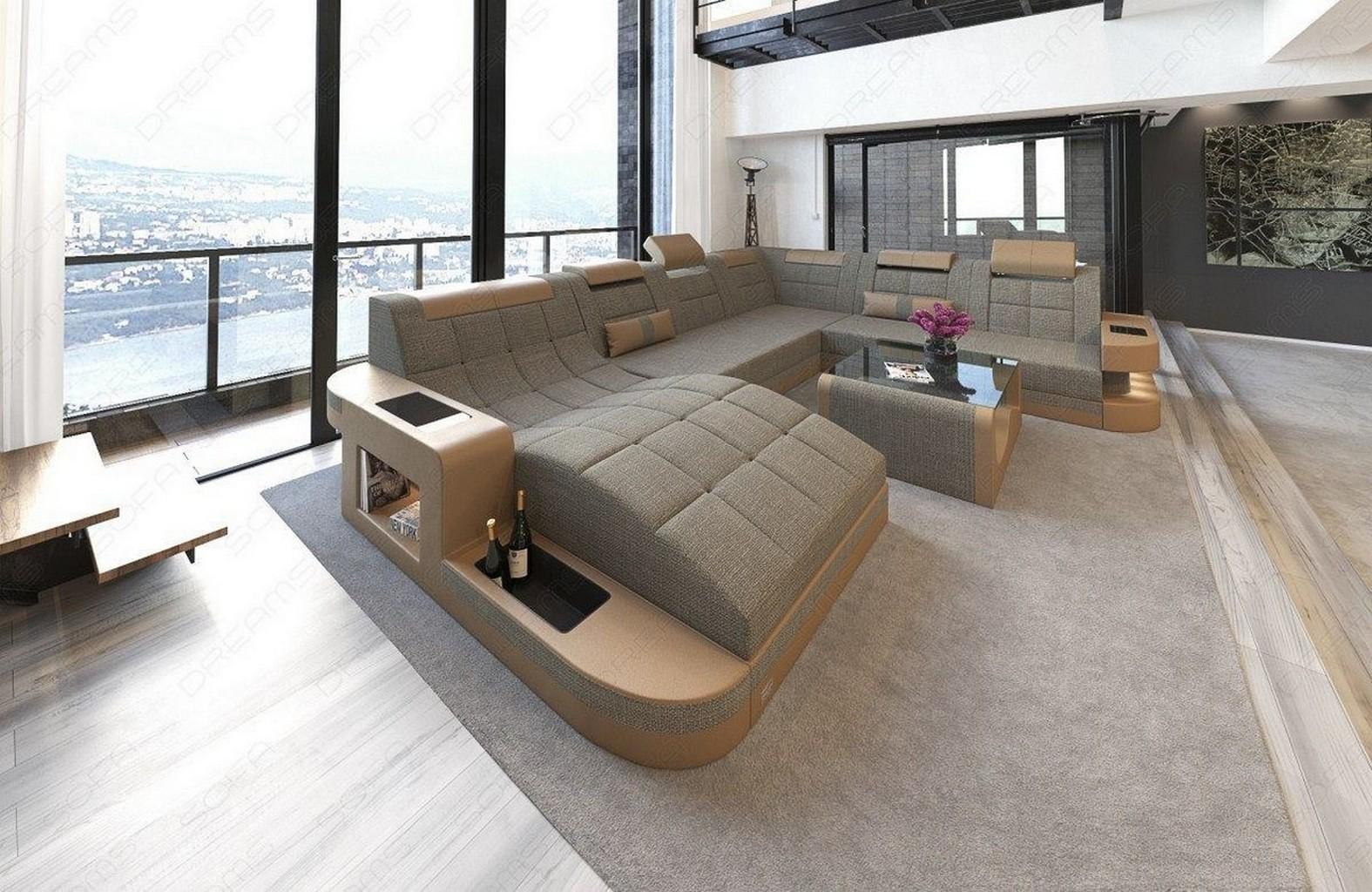 Designersofa wohnlandschaft sofa couchgarnitur wave xl for Wohnlandschaft beige stoff