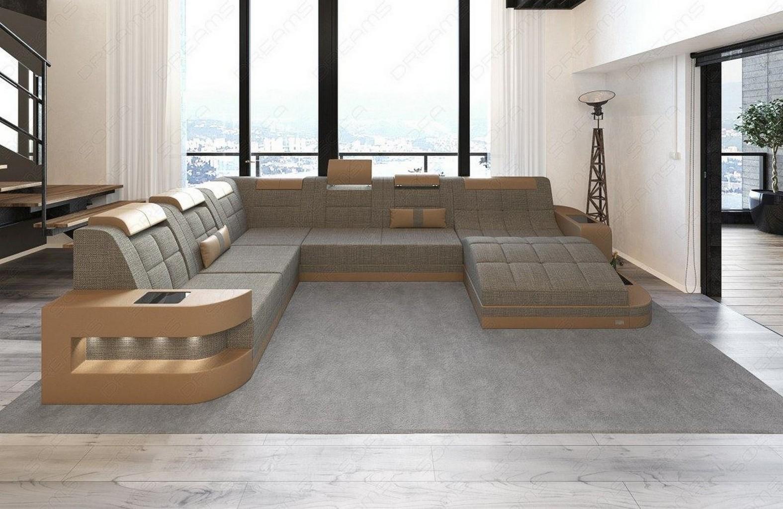Designersofa wohnlandschaft couchgarnitur wave xl grau mit for Wohnlandschaft beige stoff