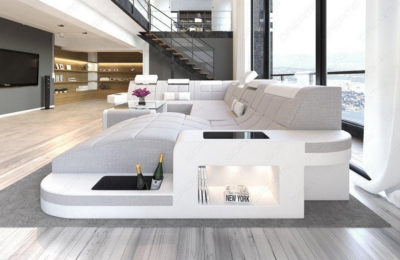 Designersofa wohnlandschaft couchgarnitur wave xl sand mit for Hellgraue wohnlandschaft
