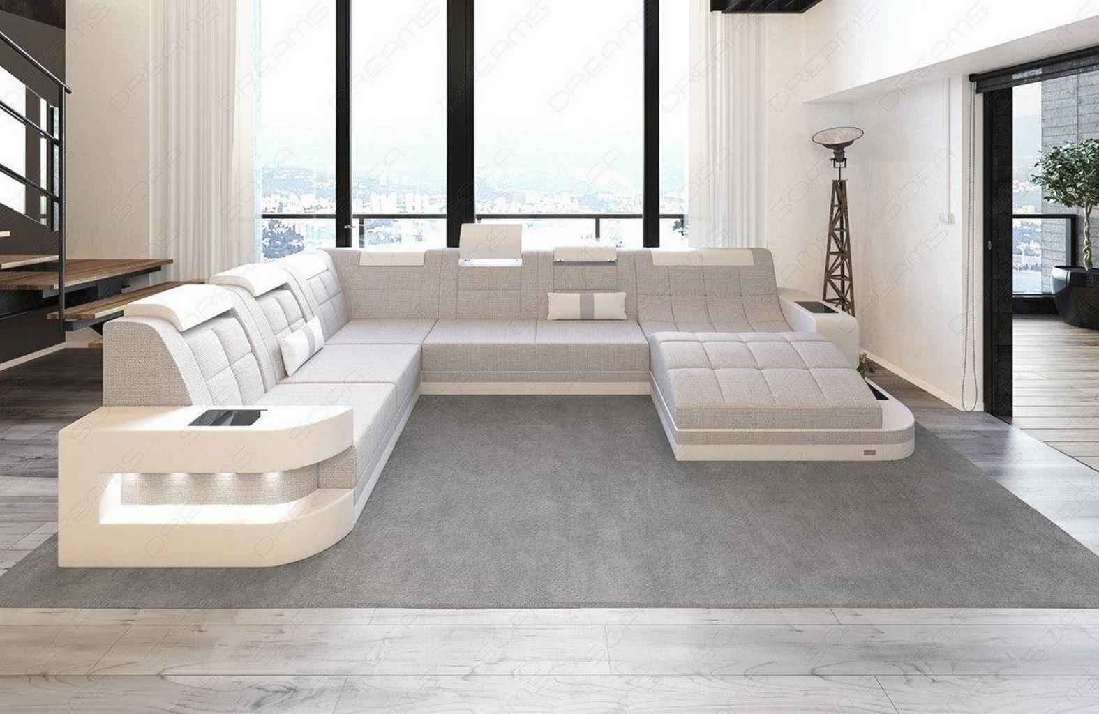 polster couch wohnlandschaft couchgarnitur wave xl sand led stoff sofa modern ebay. Black Bedroom Furniture Sets. Home Design Ideas