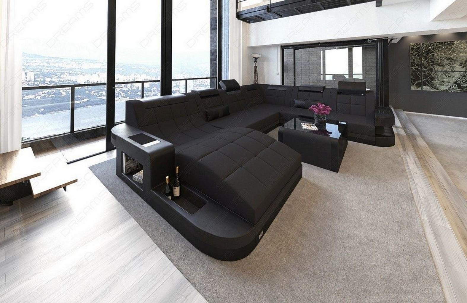 Sofa Design Couch Polster Wohnlandschaft Couchgarnitur Wave Xxl Led