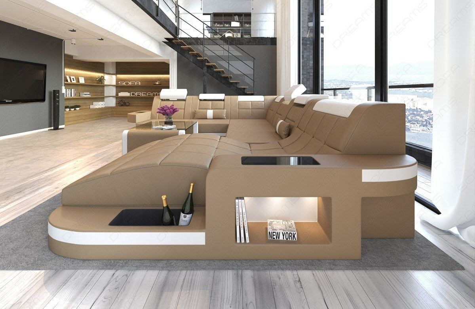 Luxus Big Sofa Leder XXL Wohnlandschaft WAVE Designer Sofa