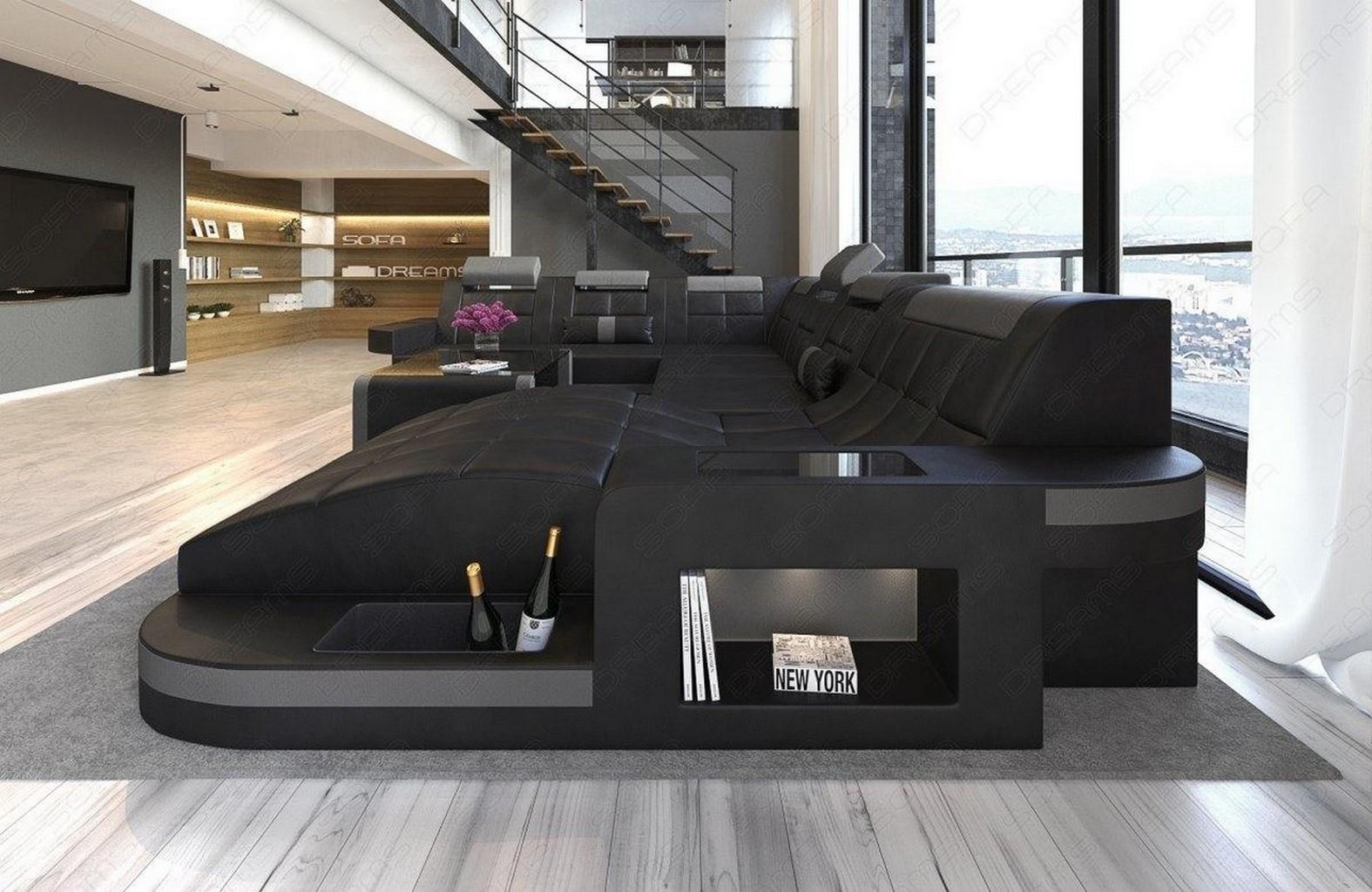 xxl sectional sofa wave modern corner sofa led lights designer couch ottoman ebay. Black Bedroom Furniture Sets. Home Design Ideas