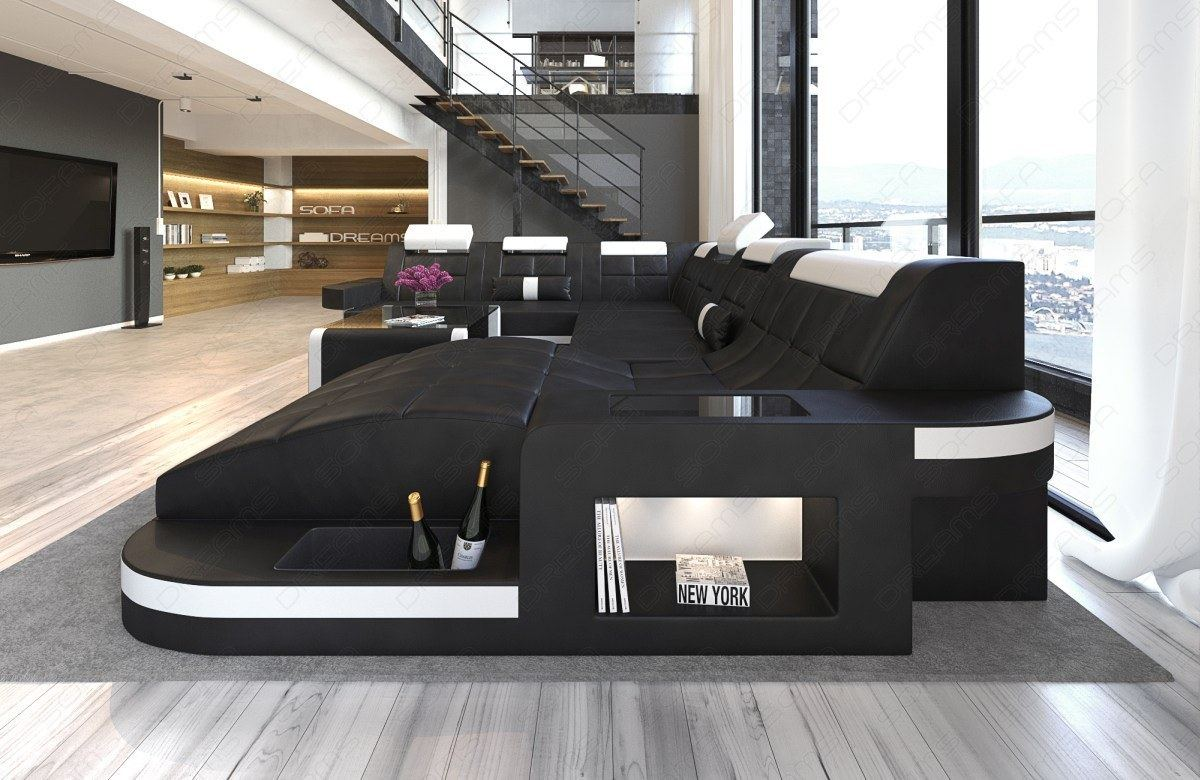 big sofa xxl couchgarnitur luxus relaxsofa ecksofa megasofa ledersofa wave leds ebay. Black Bedroom Furniture Sets. Home Design Ideas