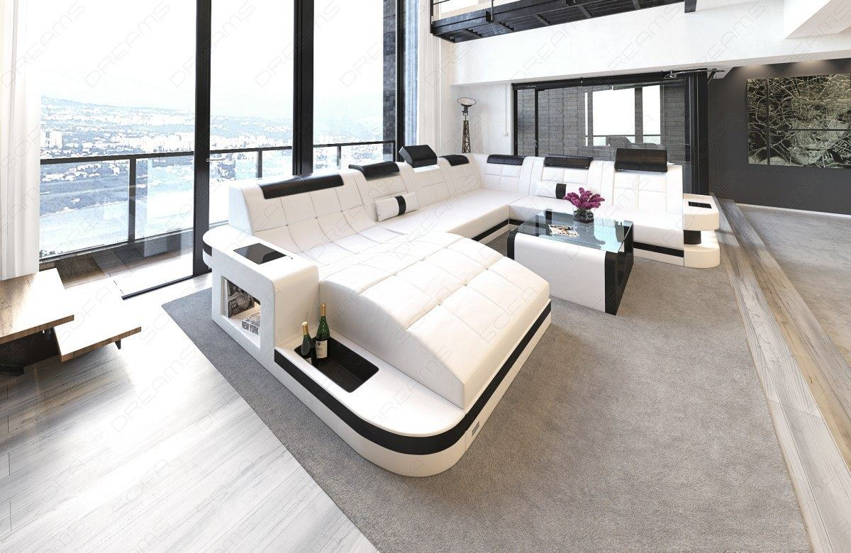 leather sofa wave xxl shape led luxury design corner sofa. Black Bedroom Furniture Sets. Home Design Ideas