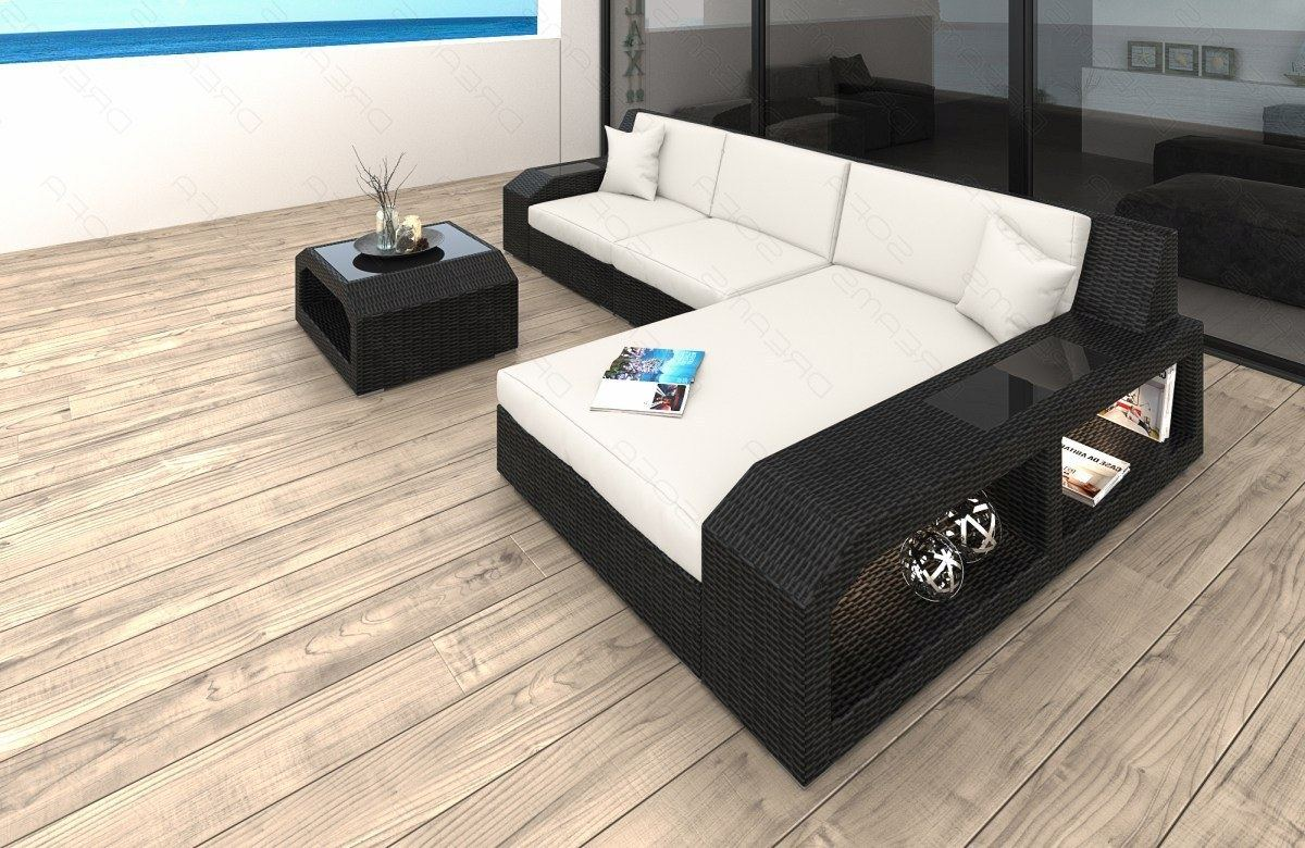 poly rattan sofa lounge matera l form garden furniture set with led lighting ebay. Black Bedroom Furniture Sets. Home Design Ideas