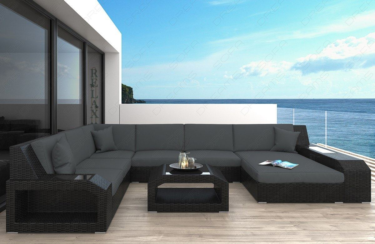 poly rattan sofa matera u shaped garden furniture set with. Black Bedroom Furniture Sets. Home Design Ideas