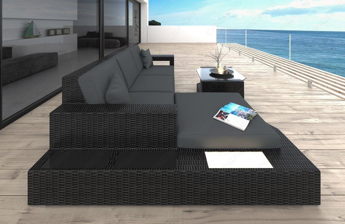 Rattansofa Couch Polyrattan MESSANA L Form mit LED Beleuchtung ...