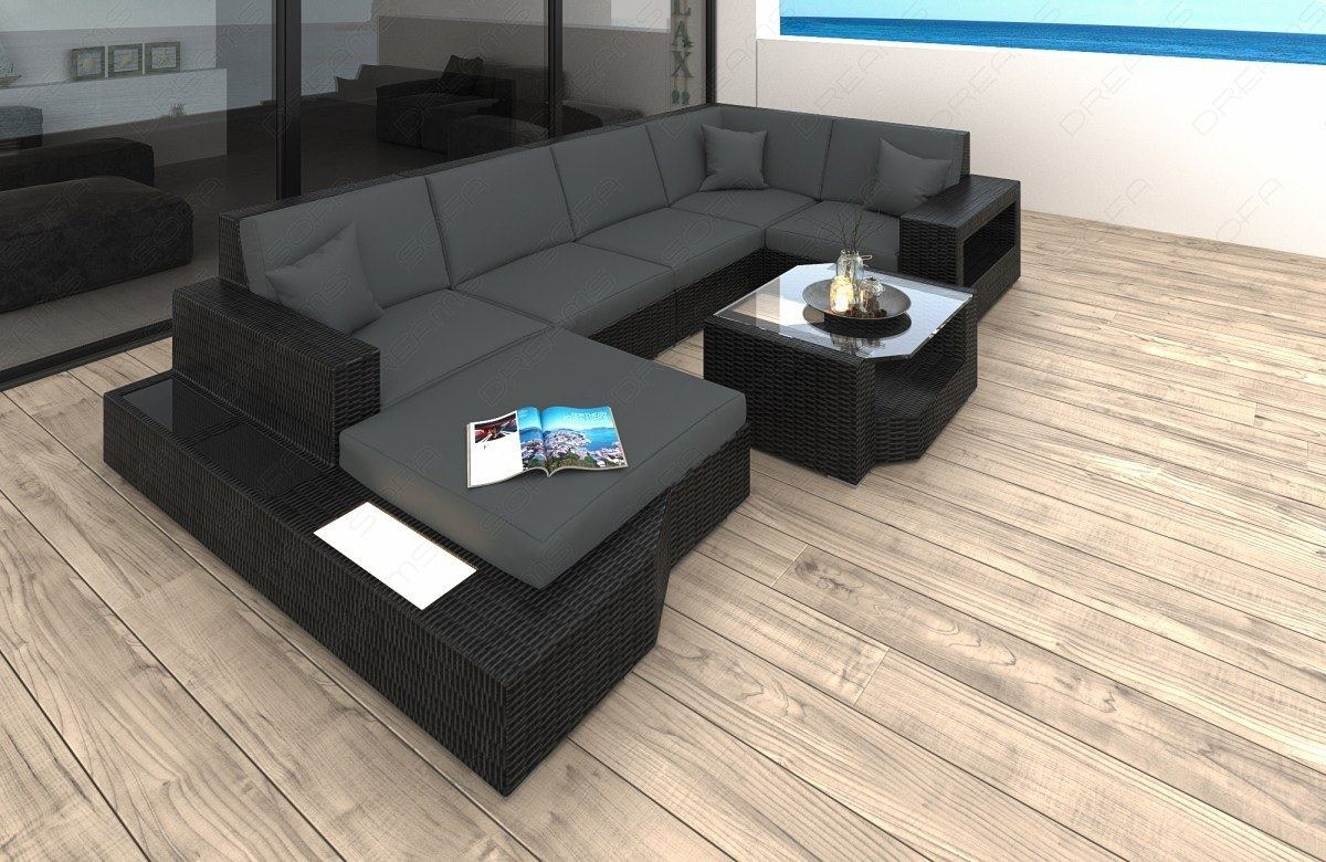 poly rattan lounge sofa set messana wicker patio design sofa indoor and outdoor ebay. Black Bedroom Furniture Sets. Home Design Ideas