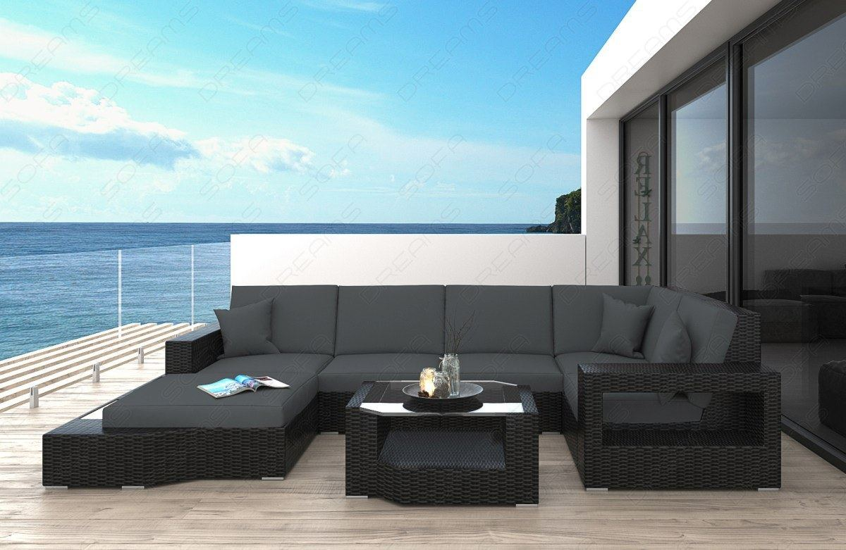 rattan sofa lounge set messana mit led beleuchtung rattanset outdoor indoor ebay. Black Bedroom Furniture Sets. Home Design Ideas