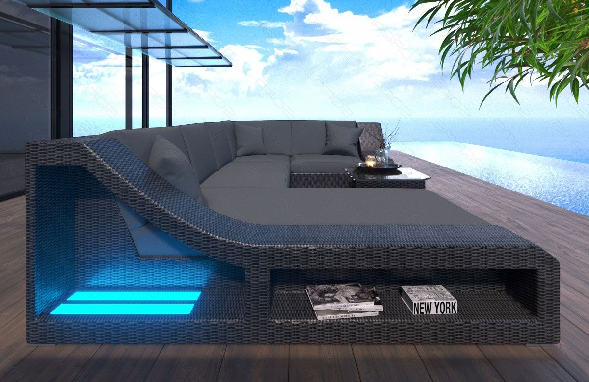 poly rattan sofa lounge turino mit led beleuchtung rattanset outdoor indoor ebay. Black Bedroom Furniture Sets. Home Design Ideas