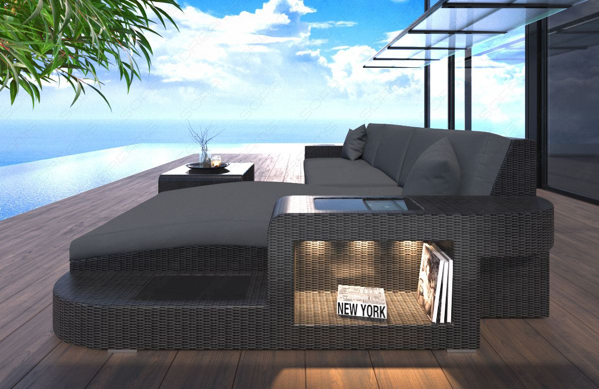 Rattan Lounge Grau Günstig ~ Wicker Patio Sofa WAVE L Shape with LED lights Indoor and Outdoor Poly