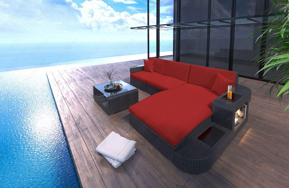 Rattansofa Polyrattan Wave L Form Gartenmöbel Lounge Garten Set Led
