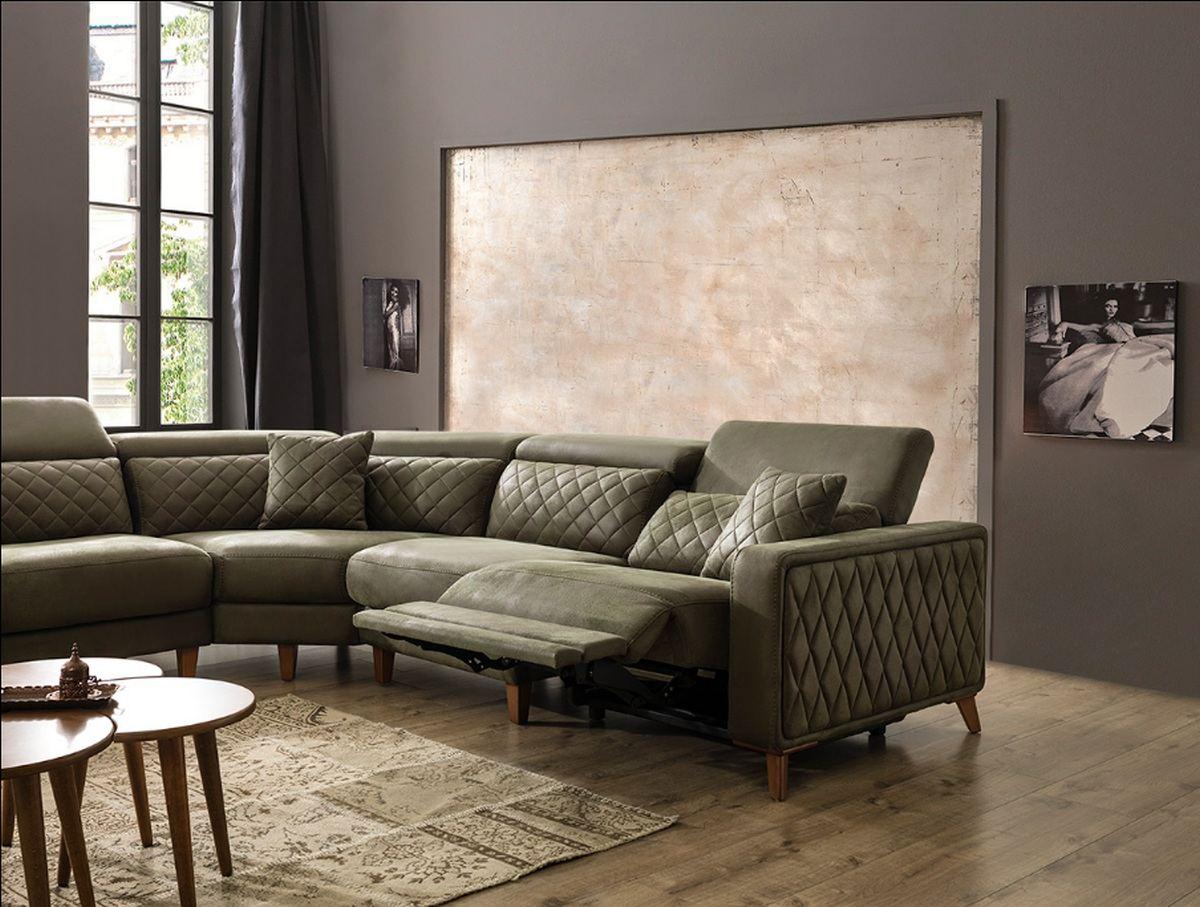 Stoff Ecksofa Chesterfield Couch Wohnlandschaft Krefeld Ausziehbar