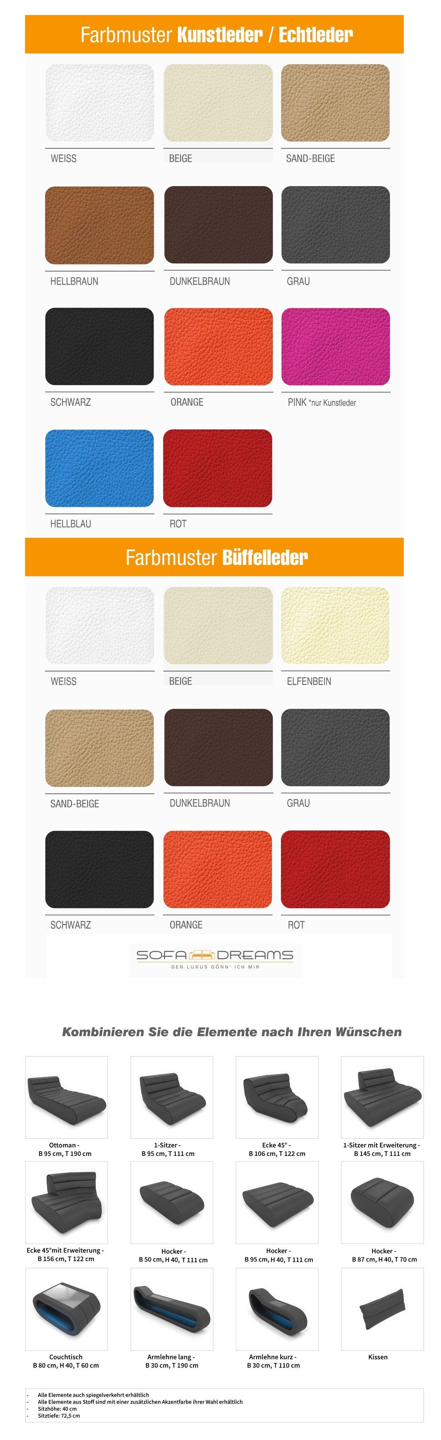Farbauswahl für Ihr Wunschsofa