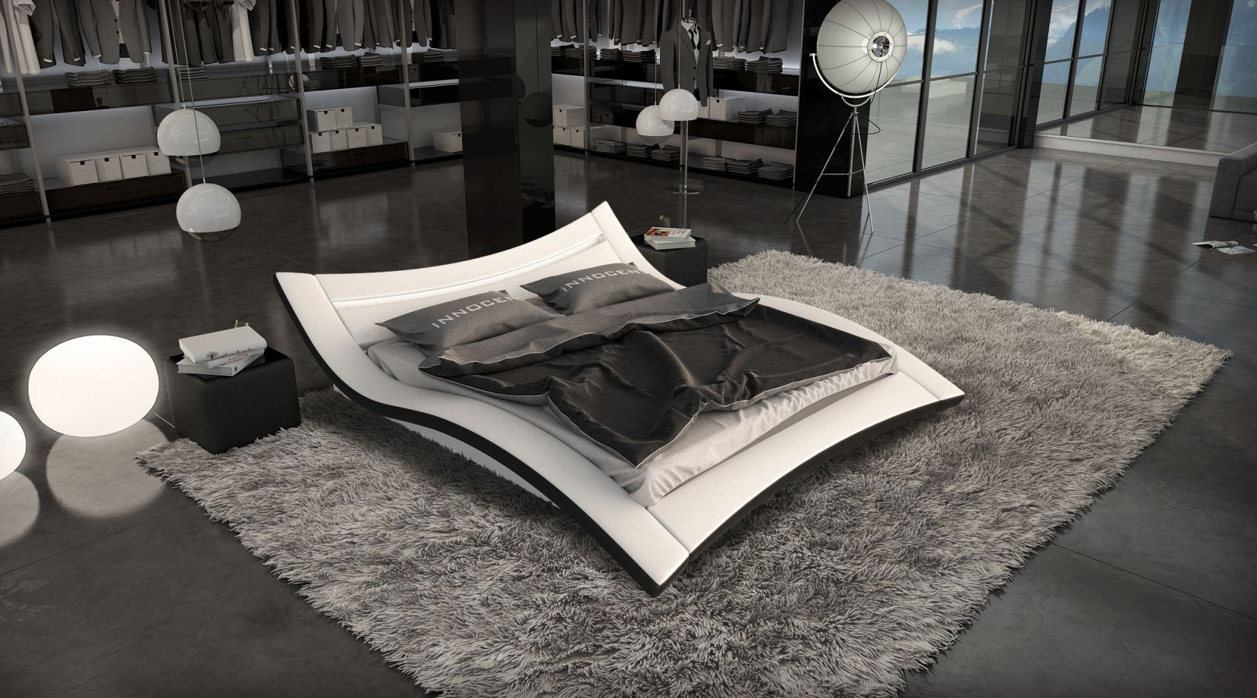 wasserbett ancona mit led beleuchtung komplettset dualsystem ebay. Black Bedroom Furniture Sets. Home Design Ideas