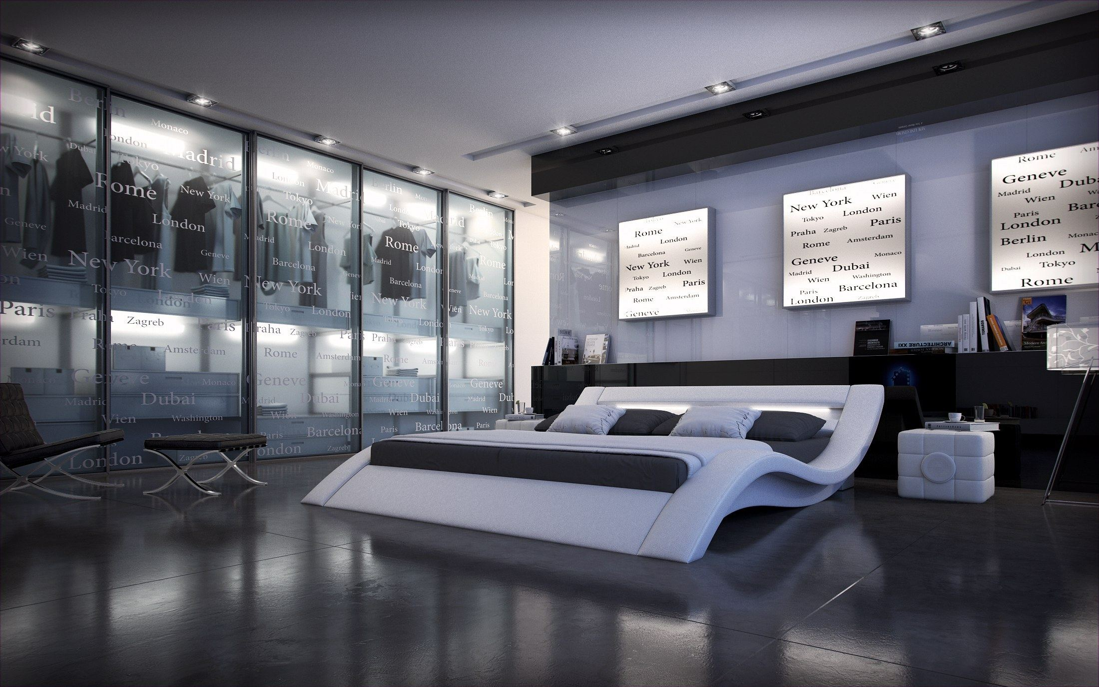 designerbett massa mit beleuchtung design polsterbett futon. Black Bedroom Furniture Sets. Home Design Ideas
