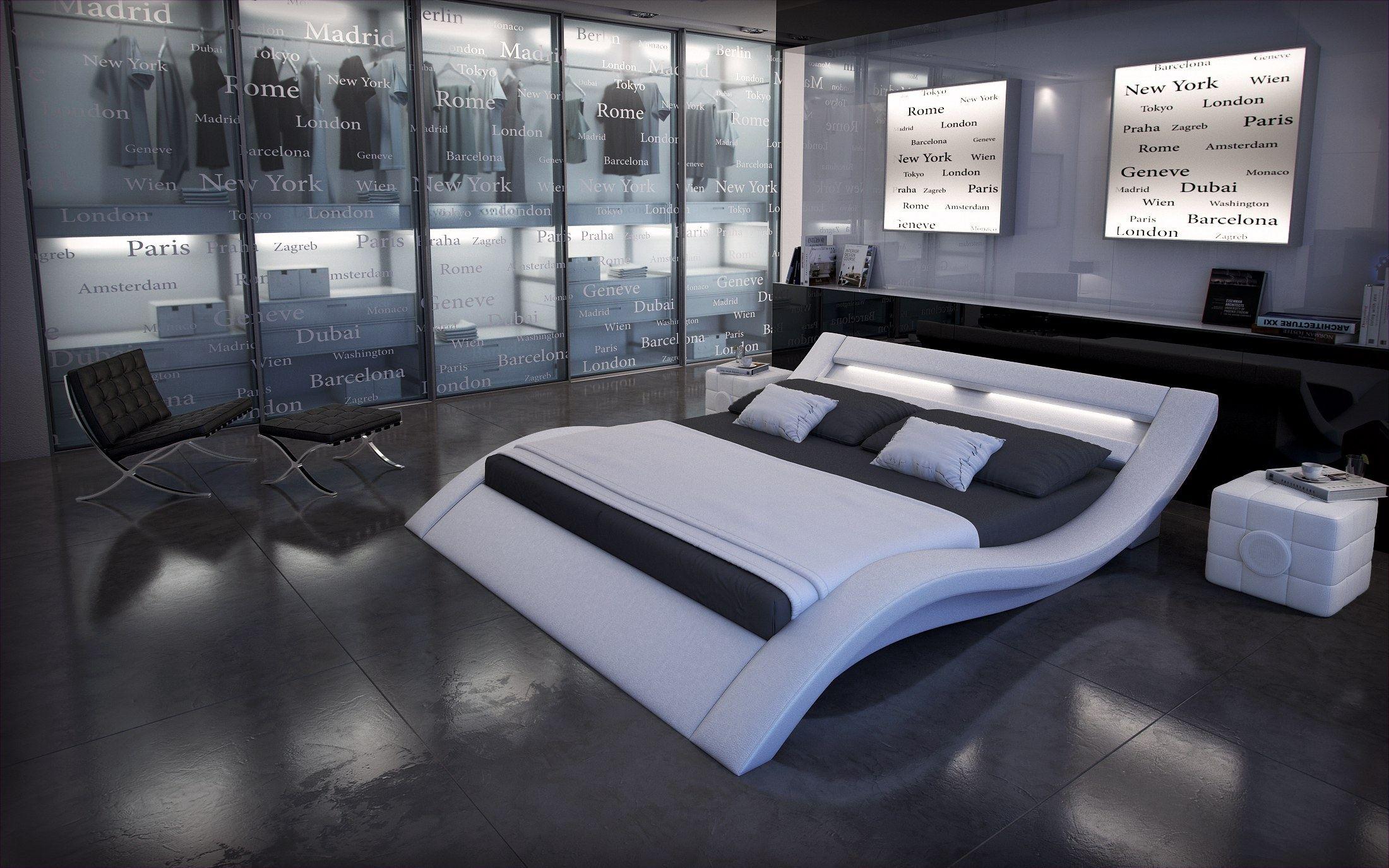 Designer bett massa polsterbett beleuchtung 7 zonen for Bett matratze