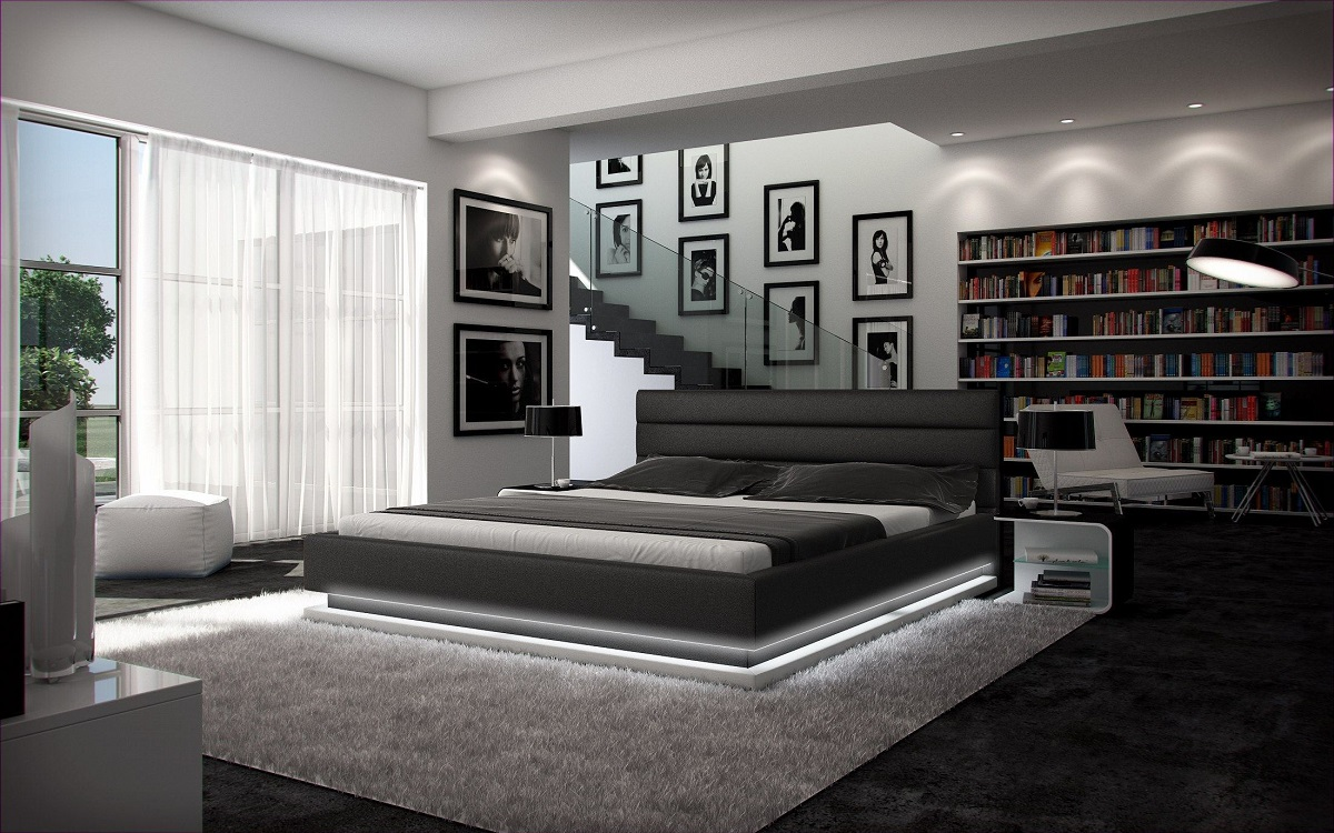 polsterbett moonlight mit beleuchtung futon designerbett ebay. Black Bedroom Furniture Sets. Home Design Ideas