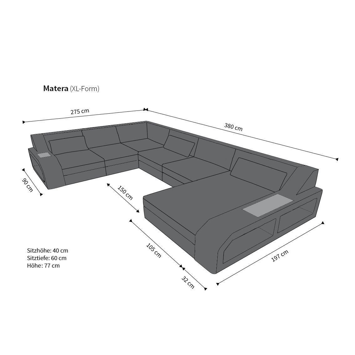 Couch u form maße  Rattan Sofa Matera U mit LED Belleuchtung