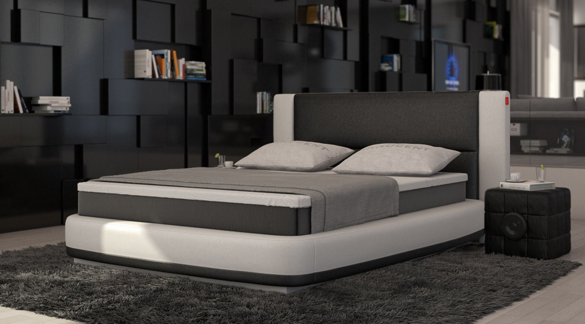 sofas ledersofa boxspringbett aquila wei schwarz sofort lieferbar g nstig online kaufen. Black Bedroom Furniture Sets. Home Design Ideas