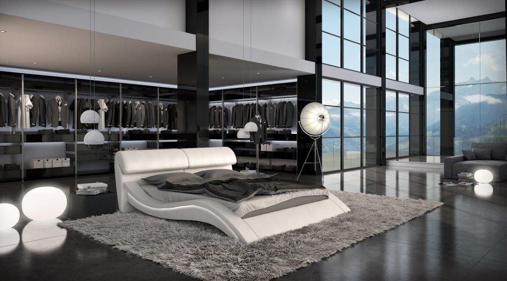 Design Polsterbett AZURE mit LED Beleuchtung