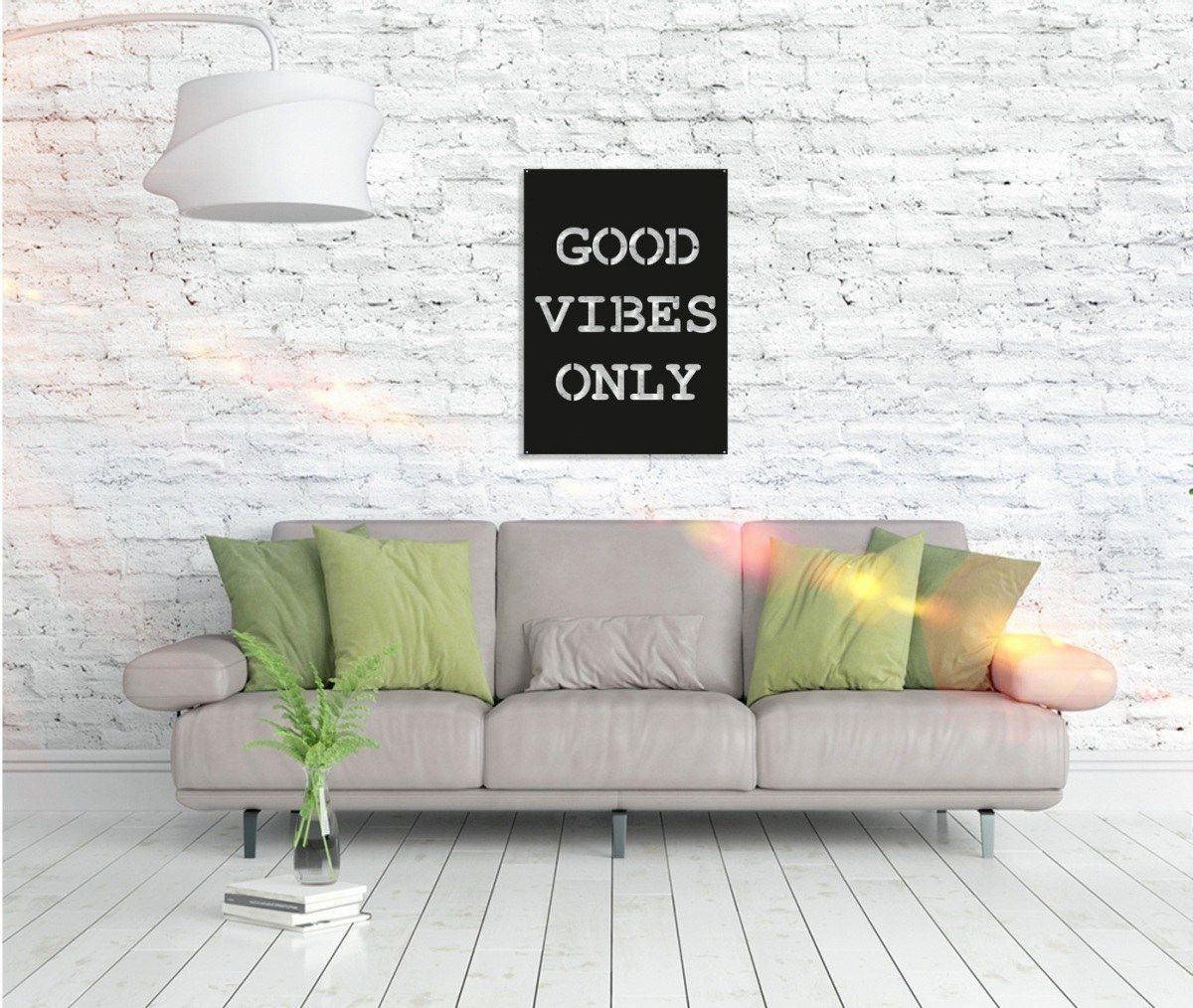 Metall Wandbild - Good Vibes Only