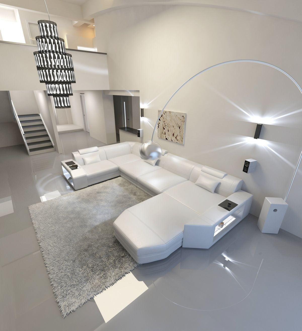 Sofa Wohnlandschaft Presto Leder Weiß