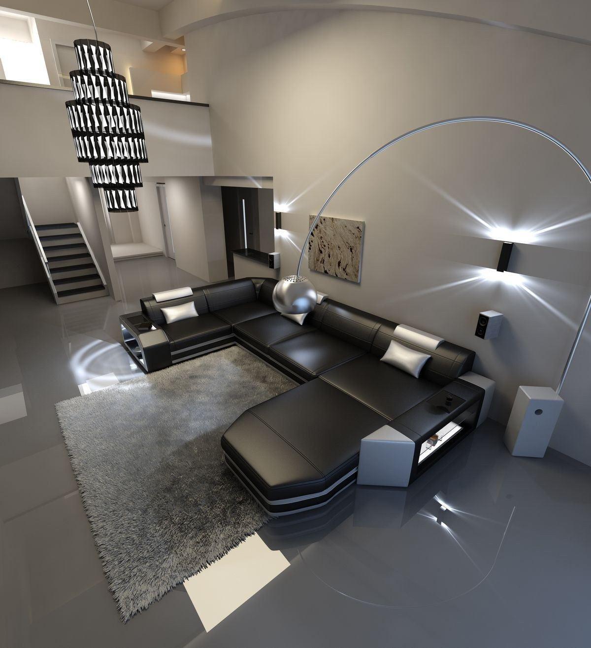 Sofa Wohnlandschaft Presto Leder Schwarz-Weiß