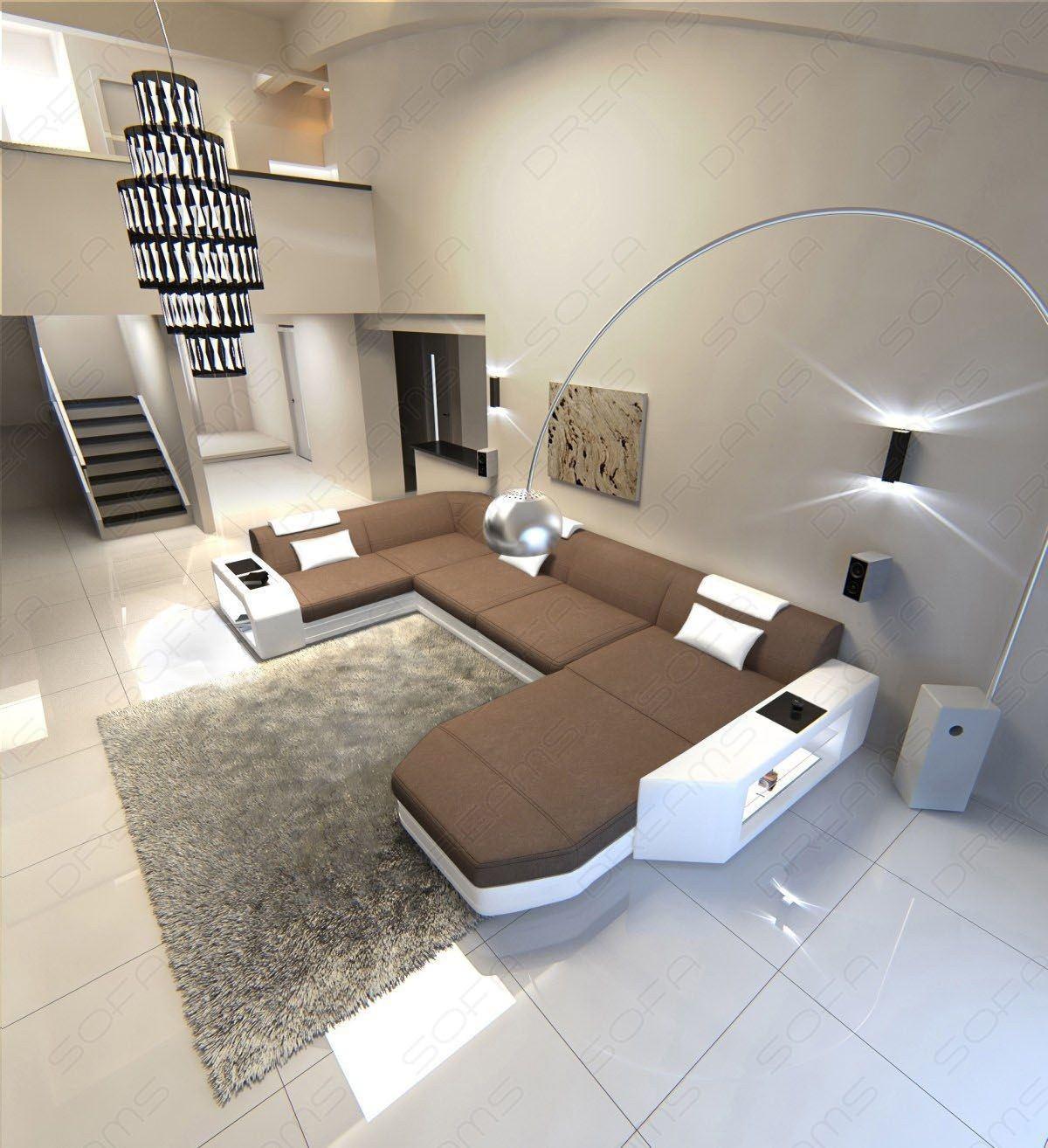 Stoff Couch Wohnlandschaft Presto LED Beleuchtung braun (Mineva 6)