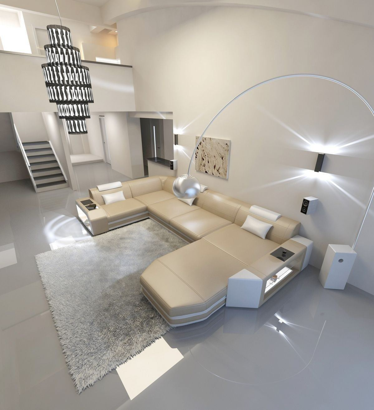 Sofa Wohnlandschaft Presto Leder Sandbeige-Weiß