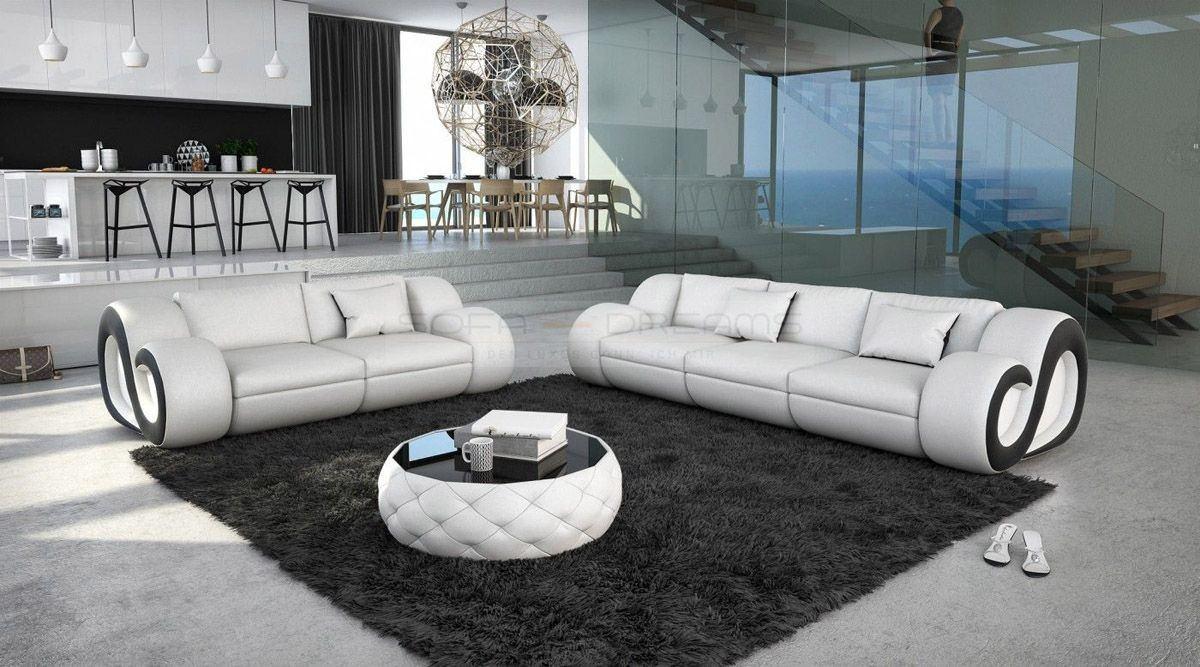 Sofa Garnitur NESTA mit Relaxfunktion und Beleuchtung weiss schwarz