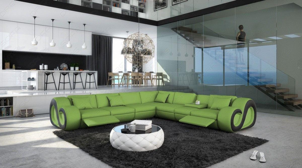 Designersofa Nesta L-Form XXL mit Relaxfunktion grün