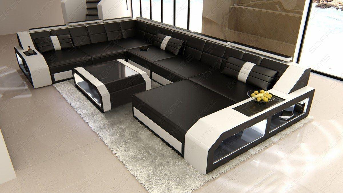 Sofa Wohnlandschaft Matera XXL LED schwarz-weiss