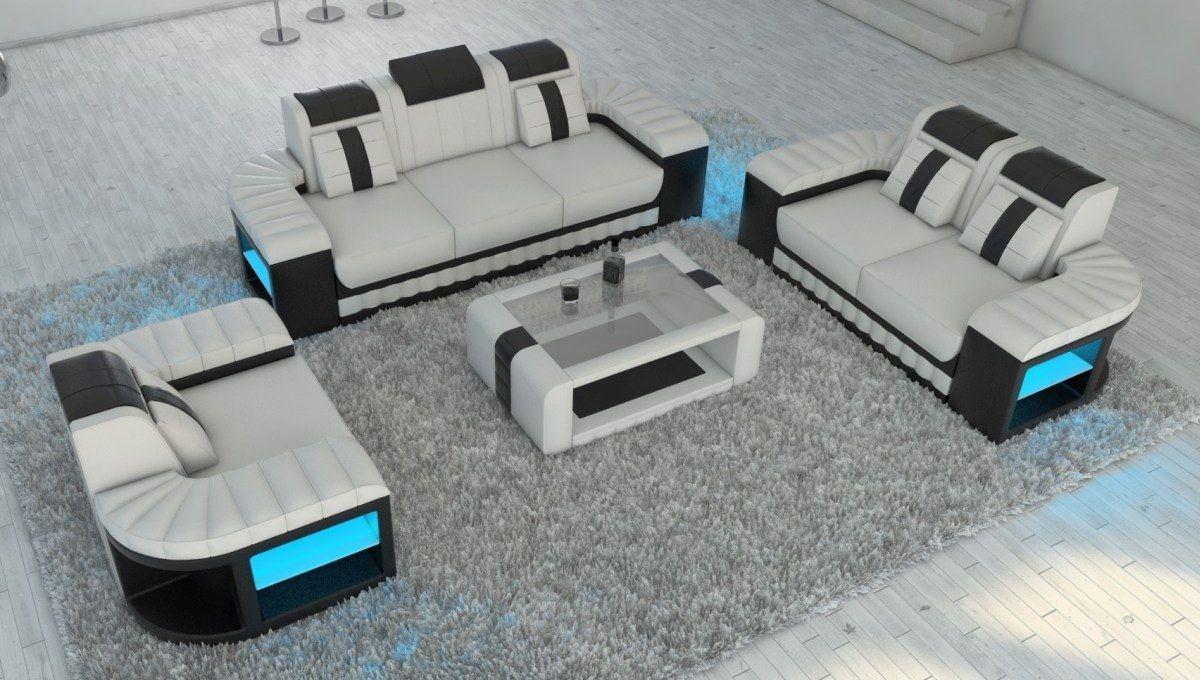 Leder Sofa Garnitur Bellagio 3-2-1 LED Beleuchtung in weiss-schwarz