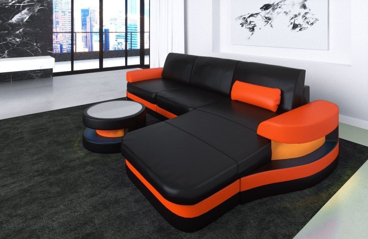 Ledersofa Modena L Form schwarz-orange