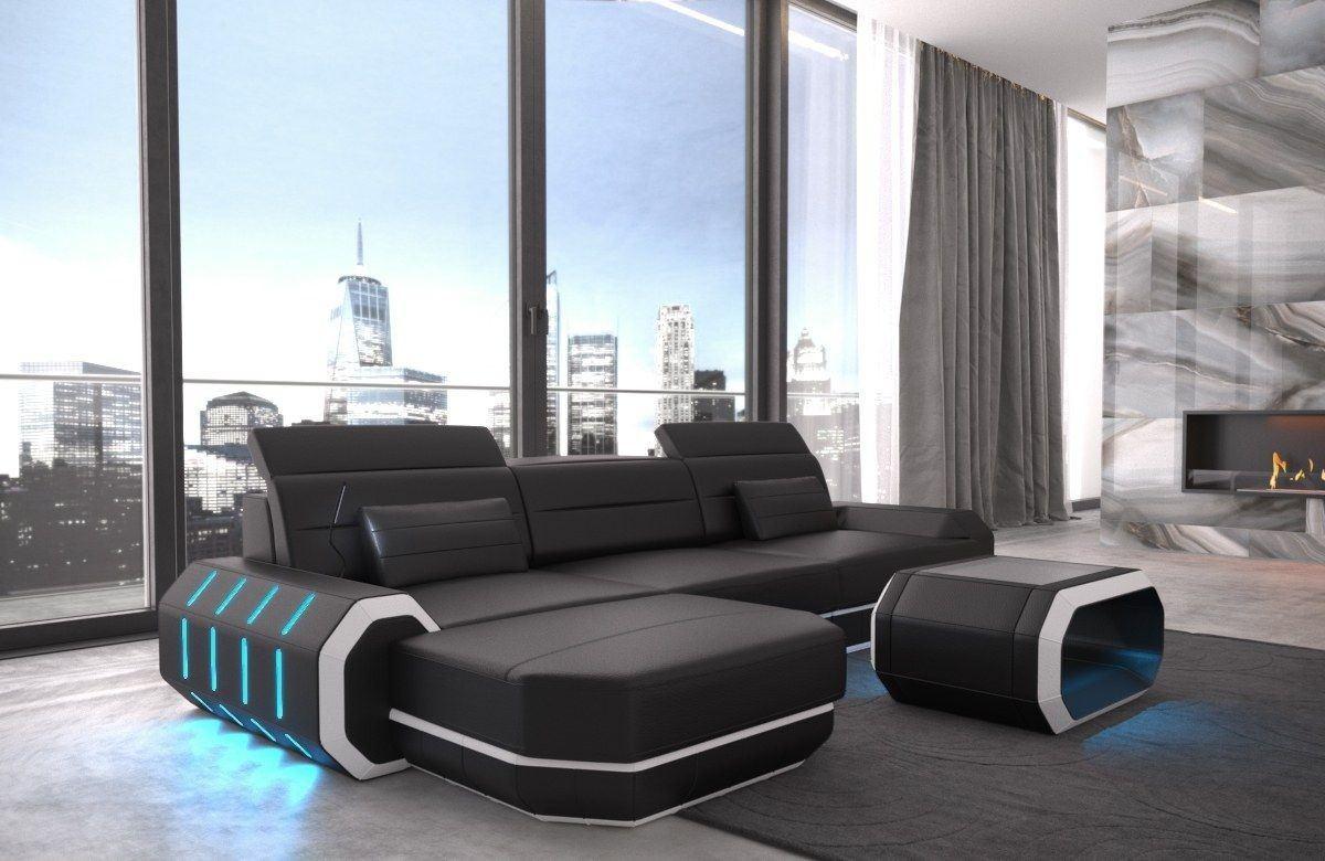 ledersofa roma in echtleder kunstleder l form schwarz und. Black Bedroom Furniture Sets. Home Design Ideas