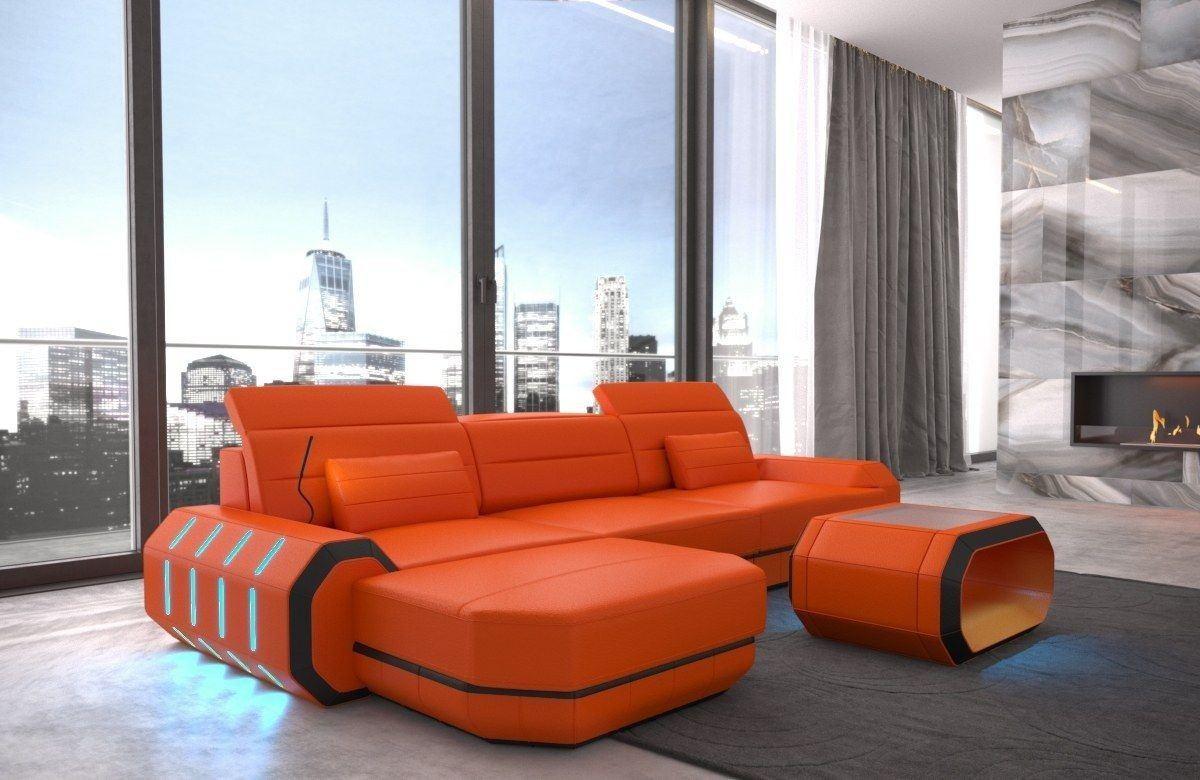 Ledersofa Roma L Form orange-schwarz