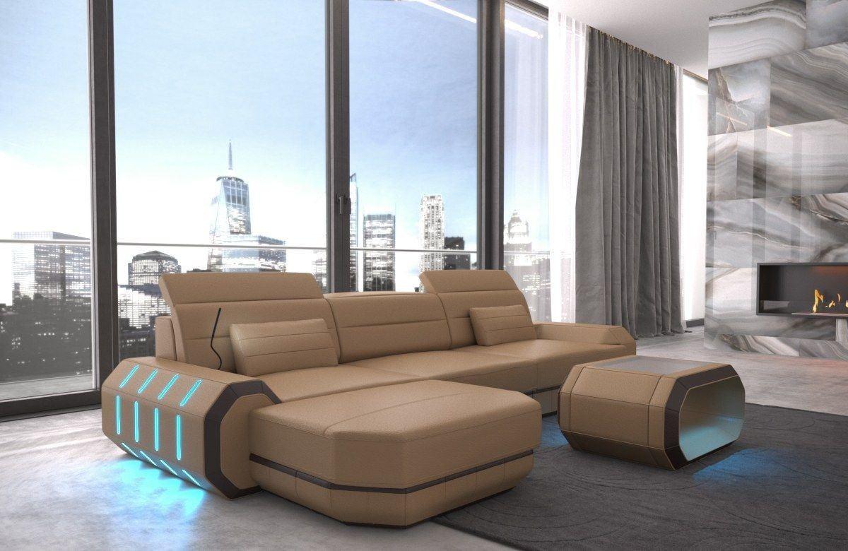 ledersofa roma in echtleder kunstleder l form sandbeige und braun. Black Bedroom Furniture Sets. Home Design Ideas