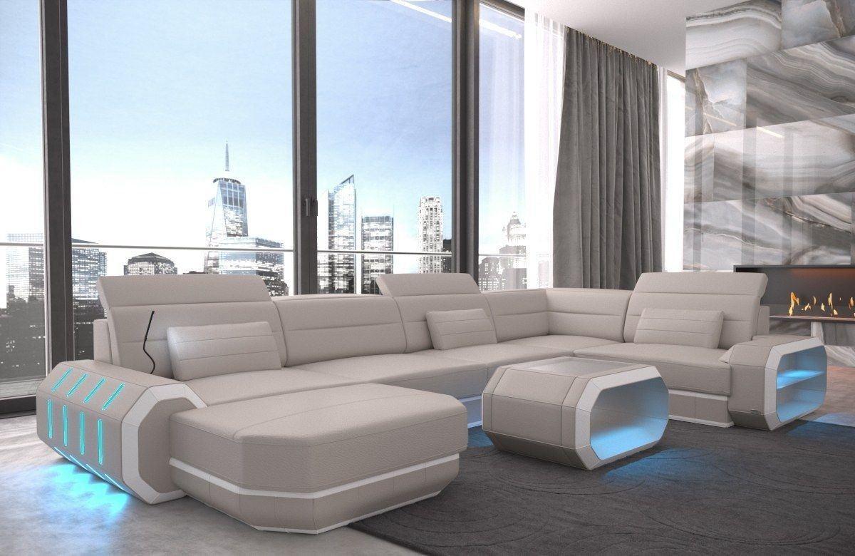 Sofa Wohnlandschaft Leder Roma U Form beige-weiss