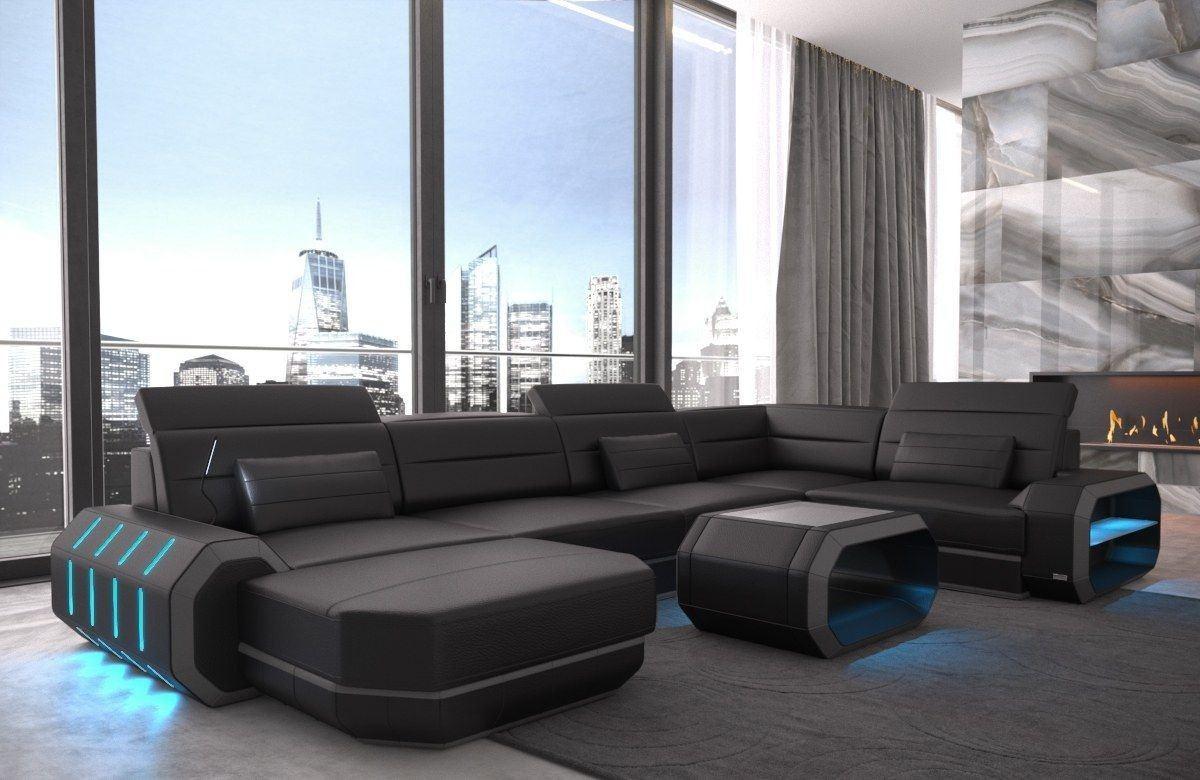 Sofa Wohnlandschaft Leder Roma U Form schwarz-grau