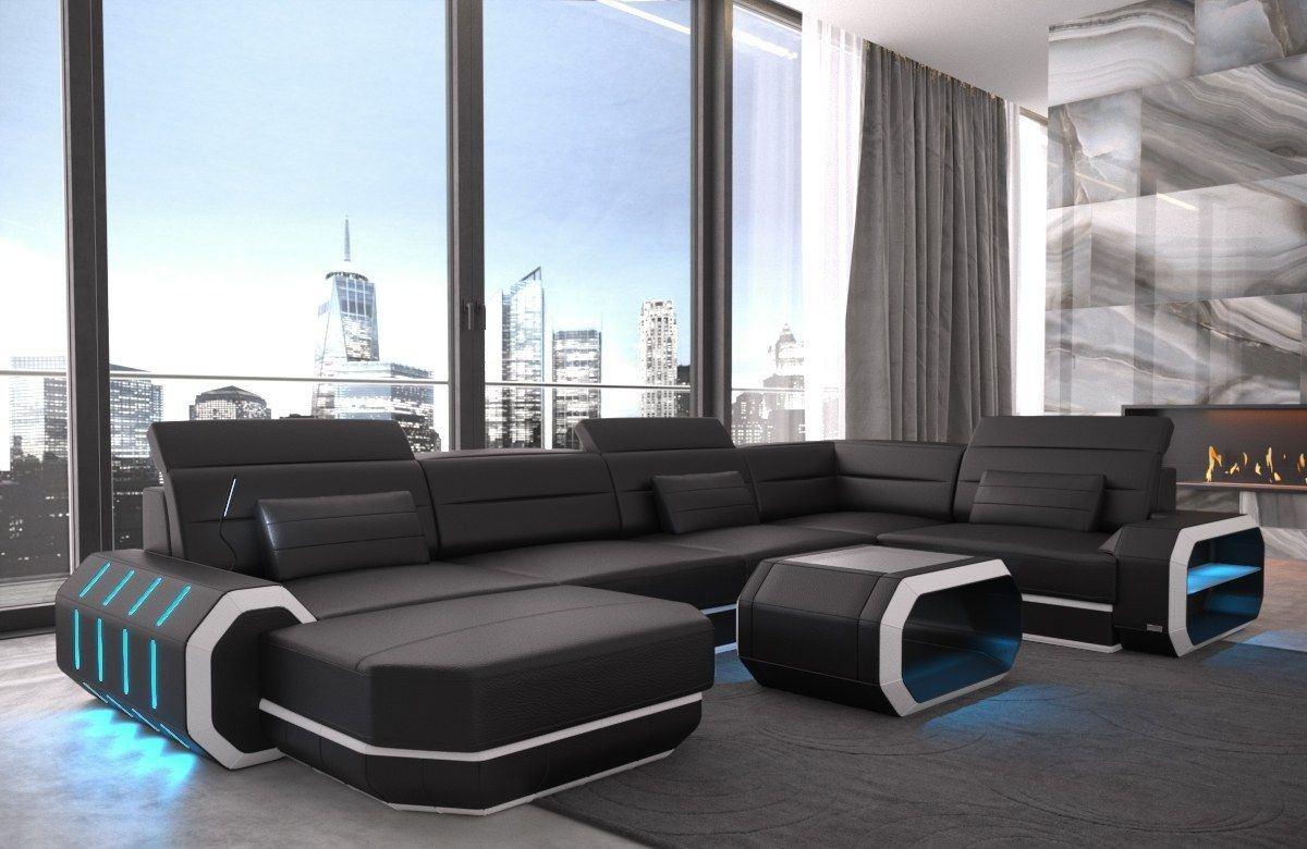 Sofa Wohnlandschaft Leder Roma U Form schwarz-weiss