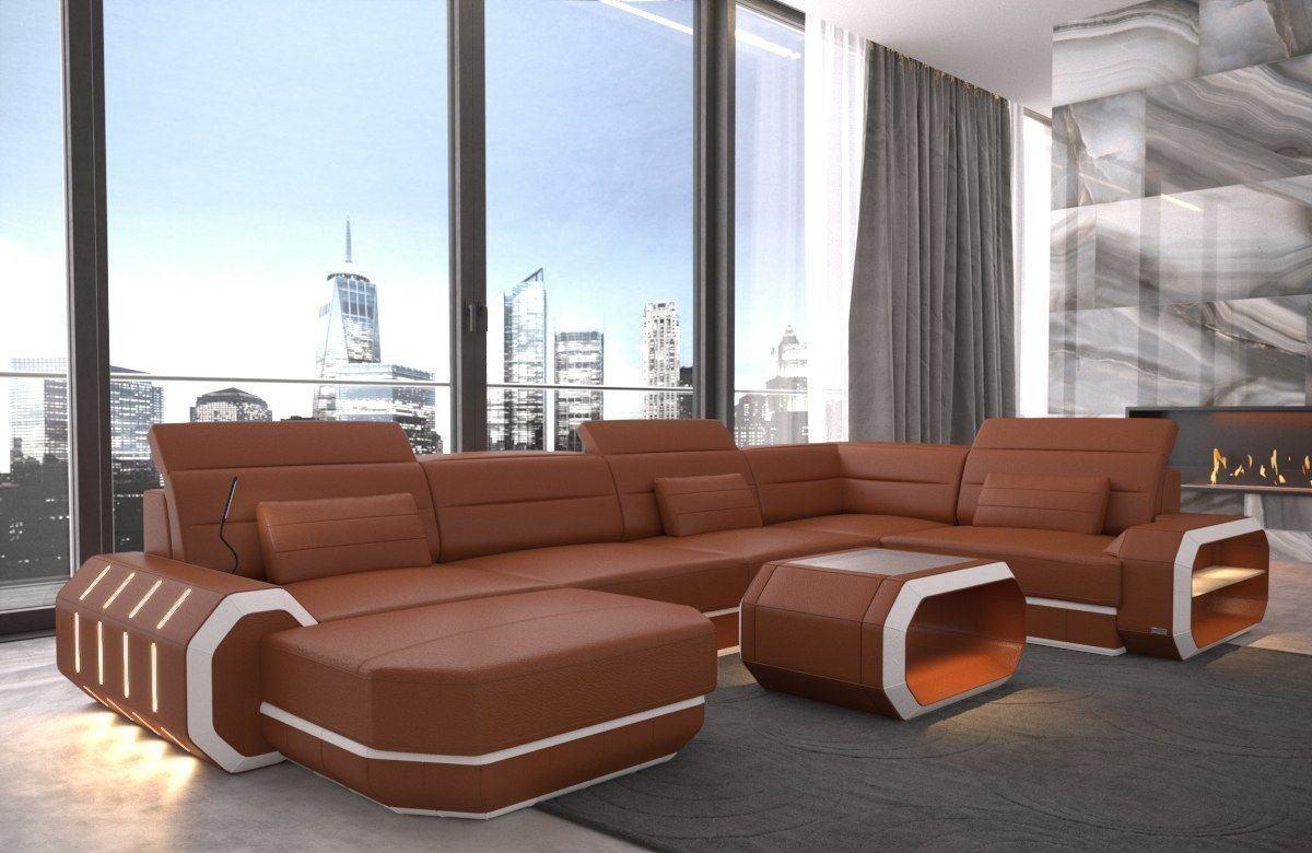 Sofa Wohnlandschaft Leder Roma U Form braun-weiss