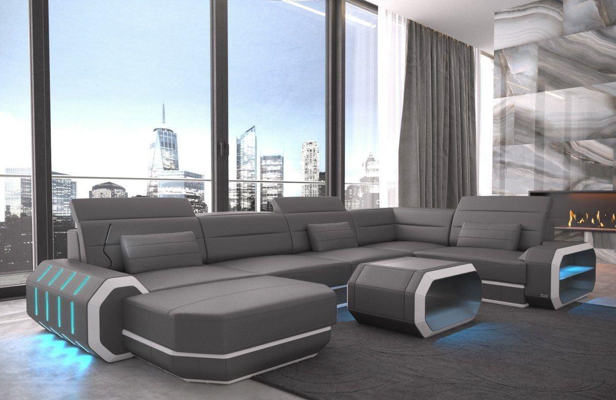 sofa wohnlandschaft roma in leder als u form grau und weiss. Black Bedroom Furniture Sets. Home Design Ideas