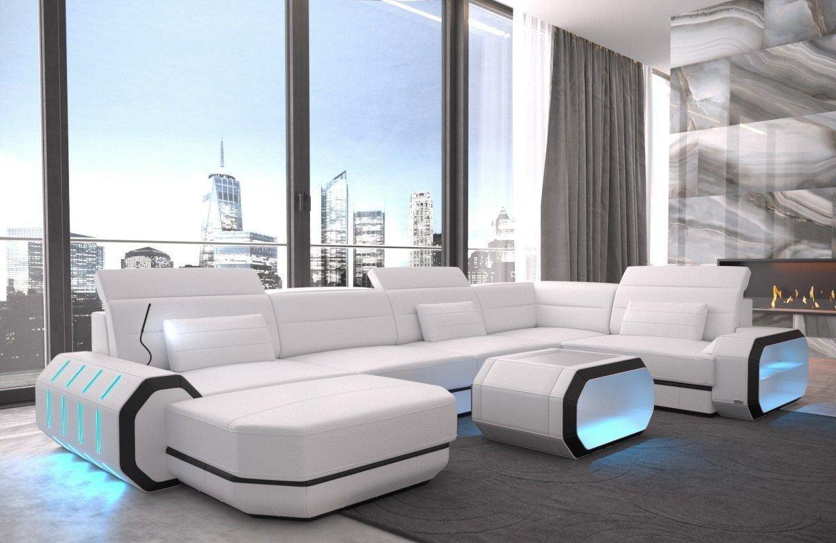 Sofa Wohnlandschaft Leder Roma U Form weiss-schwarz