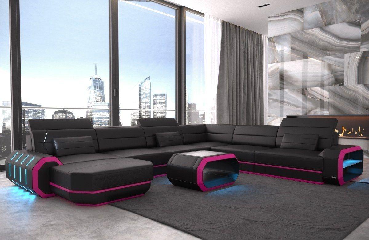 XXL Wohnlandschaft Leder Roma schwarz-pink