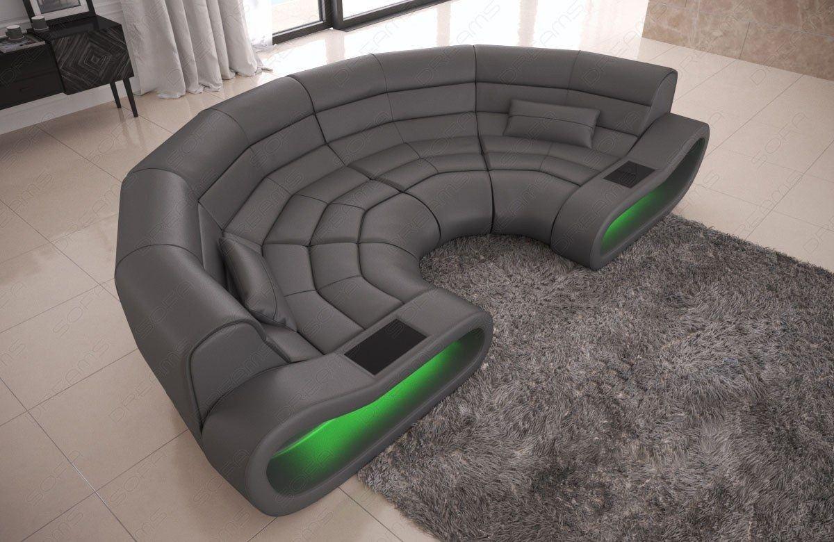 Big Sofa Concept Leder grau