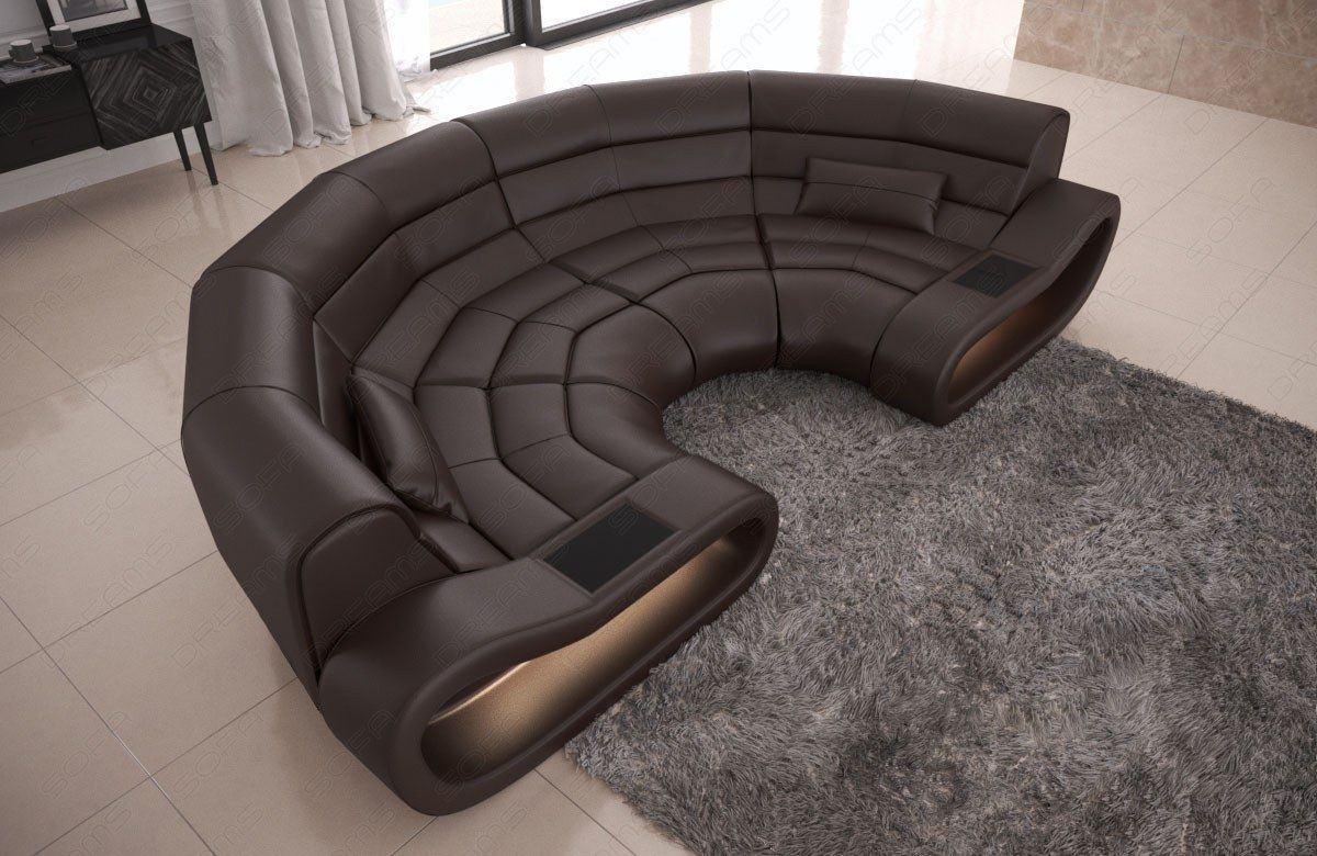 big sofa concept in leder mit ottomane und led beleuchtung. Black Bedroom Furniture Sets. Home Design Ideas