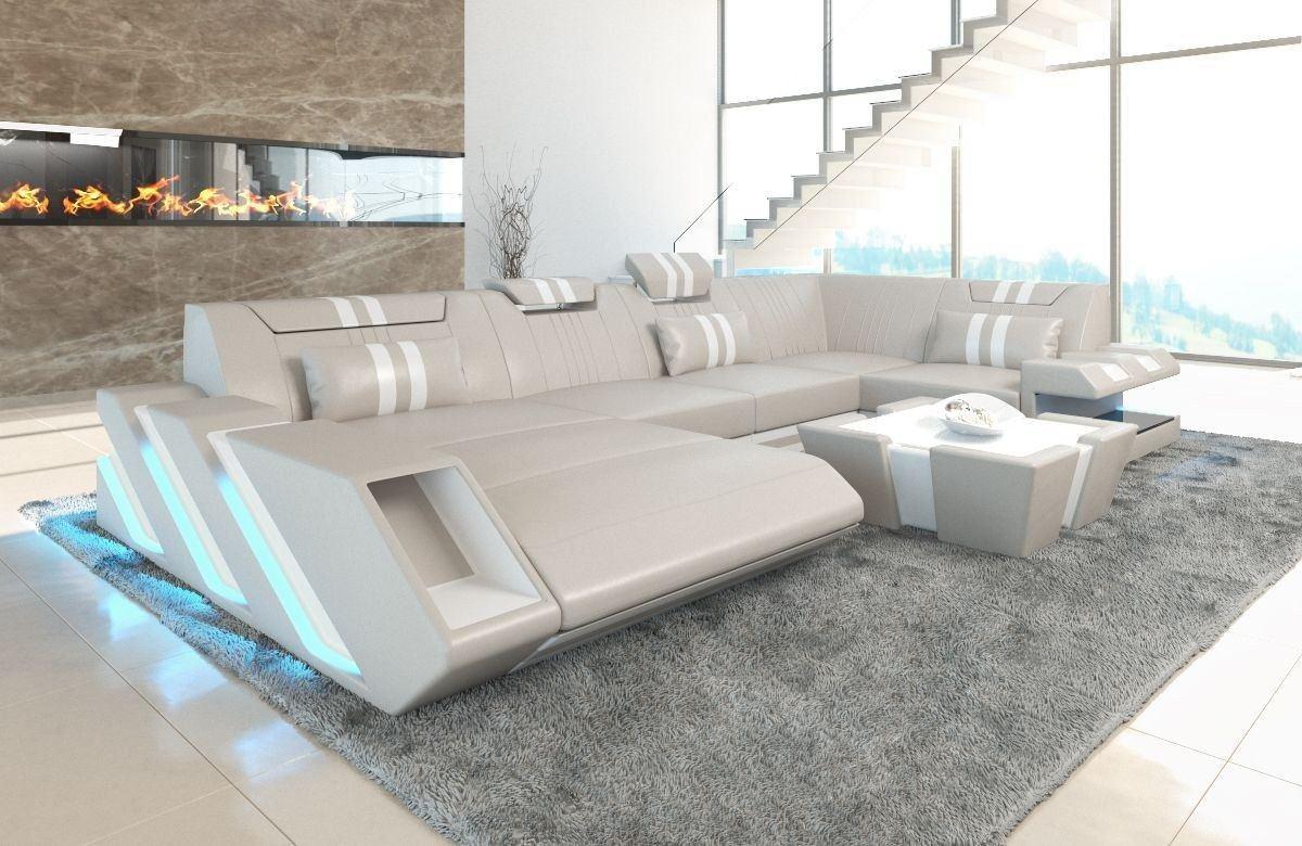 Couch Wohnlandschaft Apollonia U Form mit LED - beige-weiss
